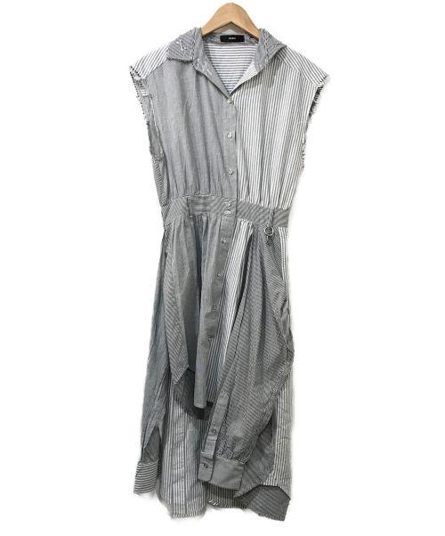 DIESEL(ディーゼル)DIESEL (ディーゼル) デザインストライプシャツワンピース グレー サイズ:表記なしの古着・服飾アイテム