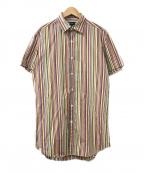 PAUL SMITH()の古着「ストライプシャツ」 オレンジ×ホワイト