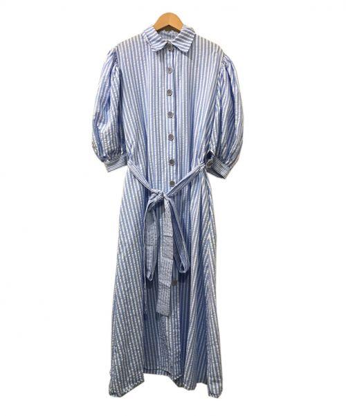 evi grintela(エヴィ グリンテラ)evi grintela (エヴィ グリンテラ) ストライプシャツワンピース ブルー×ホワイト サイズ:XSの古着・服飾アイテム