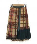 sacai()の古着「ベロアチェックプリントラップスカート」|グリーン×ベージュ