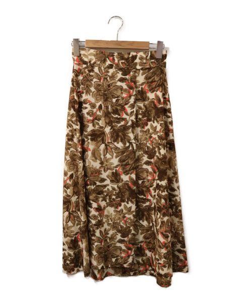 martinique(マルティニーク)martinique (マルティニーク) リネンライクフラワープリントスカート ベージュ サイズ:表記なしの古着・服飾アイテム
