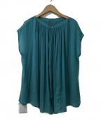ROPE(ロペ)の古着「サテンギャザーフレンチスリーブブラウス」|グリーン