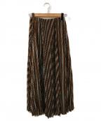 ASTRAET(アストラット)の古着「プリーツストライプスカート」|ブラウン
