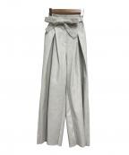 CLANE(クラネ)の古着「WIDE TUCK LEATHER PANTS」|ホワイト