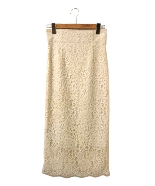 Noble(ノーブル)Noble (ノーブル) リバーレースIラインスカート ホワイト サイズ:36の古着・服飾アイテム