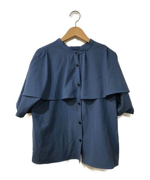 UNITED TOKYO(ユナイテッドトウキョウ)UNITED TOKYO (ユナイテッドトウキョウ) 袖ケープ2WAYフレアブラウス ブルーの古着・服飾アイテム