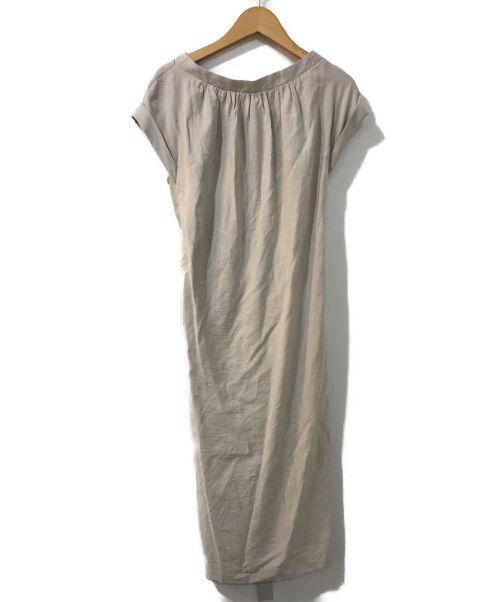 BALLSEY(ボールジィー)BALLSEY (ボールジィー) エンザムツイルIラインギャザーワンピース ベージュ サイズ:36の古着・服飾アイテム