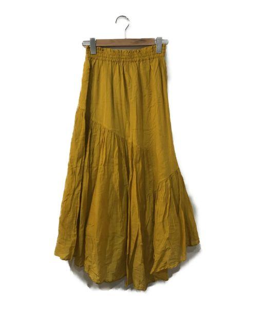 ne quittez pas(ヌキテパ)ne quittez pas (ヌキテパ) コットンボイルパネルロングスカート イエロー サイズ:表記なしの古着・服飾アイテム