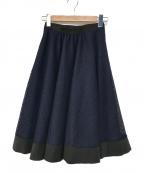 LANVIN en Bleu(ランバンオンブルー)の古着「メッシュレースフレアスカート」|ネイビー