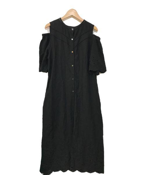 Spick and Span(スピックアンドスパン)Spick and Span (スピックアンドスパン) オープンショルダー刺繍ドレス ブラック サイズ:FREEの古着・服飾アイテム