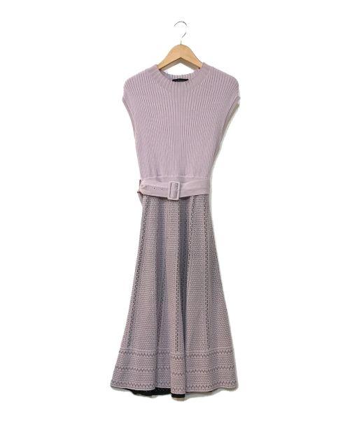 JUSGLITTY(ジャスグリッティー)JUSGLITTY (ジャスグリッティー) フレンチスリーブ柄編みニットワンピース バイオレット サイズ:1の古着・服飾アイテム
