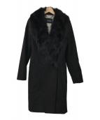 ()の古着「フォックスファー付コート」|ブラック