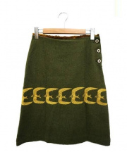mina perhonen(ミナ ペルホネン)の古着「go!アンゴラ混刺繍スカート」 オリーブ