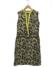 mina perhonen(ミナ ペルホネン)の古着「joy刺繍ワンピース」 グレー×イエロー