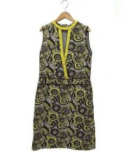 mina perhonen(ミナ ペルホネン)の古着「joy刺繍ワンピース」|グレー×イエロー