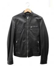 DOLCE & GABBANA(ドルチェ&ガッバーナ)の古着「ラムスキンライダースジャケット」|ブラック