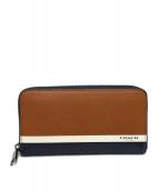 COACH(コーチ)の古着「ラウンドファスナー財布」|ブラウン×ネイビー