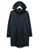 FRED PERRY(フレッドペリー)の古着「ブラックウォッチフーデッドコート」|グリーン×ネイビー