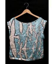 mina perhonen(ミナ ペルホネン)の古着「wataridori ブラウス」|ブルー×ホワイト