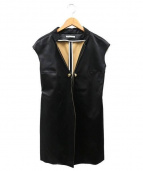 AKANE UTSUNOMIYA(アカネ ウツノミヤ)の古着「シルク混ノースリーブジャケット」|ブラック