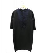CELINE(セリーヌ)の古着「シルク混ノーカラーワンピース」|ブラック×ネイビー