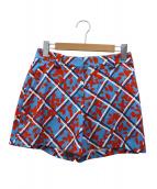 JIL SANDER NAVY(ジルサンダーネイビー)の古着「総柄ショートパンツ」|スカイブルー×レッド