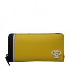 Emilio Pucci(エミリオプッチ)の古着「ラウンドファスナー財布」 イエロー×ブラック
