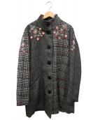 Desigual(デシグアル)の古着「グレンチェックコート」|グレー