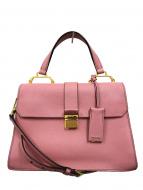MIU MIU(ミュウミュウ)の古着「マドラス2WAYショルダーハンドバッグ」|ピンク