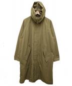 DESCENTE PAUSE(デサントポーズ)の古着「フード付きナイロンステンカラーコート」|ベージュ