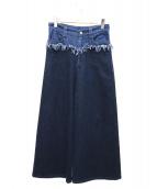 tsumori chisato(ツモリチサト)の古着「切替デニムワイドパンツ」|インディゴ