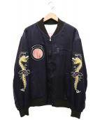 UNITED ARROWS & SONS(ユナイテッドアローズ アンド サンズ)の古着「Souvenir Jacket」|ネイビー×ホワイト