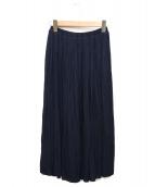 Spick and Span(スピック&スパン)の古着「ナイルサテンプリーツスカート」|ネイビー