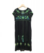 TOKUKO1erVOL(トクコプルミエヴォル)の古着「刺繍ワンピース」|ブラック×グリーン