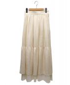ELIN(エリン)の古着「シフォンティアードロングスカート」|ホワイト