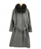 Maison DE Liliane(メゾンドリリアーヌ)の古着「ブルーフォックスファーウールコート」 グレー