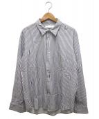 ETHOSENS(エトセンス)の古着「交差ストライプシャツ」|ホワイト×ネイビー