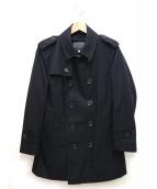 BLACK LABEL CRESTBRIDGE(ブラックレーベル・クレストブリッジ)の古着「ギャバジンショートトレンチコート」|ブラック