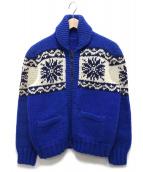 VINTAGE(ヴィンテージ)の古着「ヴィンテージカウチンカーディガン」|ブルー×ホワイト