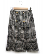 Maglie par ef-de(マーリエパーエフデ)の古着「ロービングチェックスカート」|ホワイト×ブラック