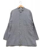 ARMANI COLLEZIONI(アルマーニコレツォーニ)の古着「バンドカラーリネンシャツ」|ブルー