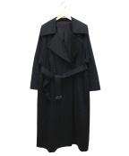 foufou(フーフー)の古着「ロングオーバートレンチコート」 ブラック