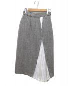 ELENDEEK(エレンディーク)の古着「ヘリンボーンプリーツロングスカート」|グレー×ホワイト