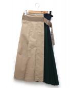 ELENDEEK(エレンディーク)の古着「シャイニースイッチプリーツロングスカート」|ベージュ×ネイビー