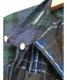 中古・古着 une autre (ユノートル) スパンボイルレース付きスタンドカラーBL グリーン×ネイビー サイズ:38 未使用品 日本製:4800円