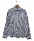 BLUE LABEL CRESTBRIDGE(ブルーレーベルクレストブリッジ)の古着「ストライプリネンシャツ」|ネイビー×ホワイト