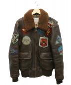 AVIREX(アヴィレックス)の古着「TOP GUN G-1レザーフライトジャケット」|ブラウン