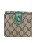 GUCCI(グッチ)の古着「Wホック2つ折り財布」 ベージュ×グリーン