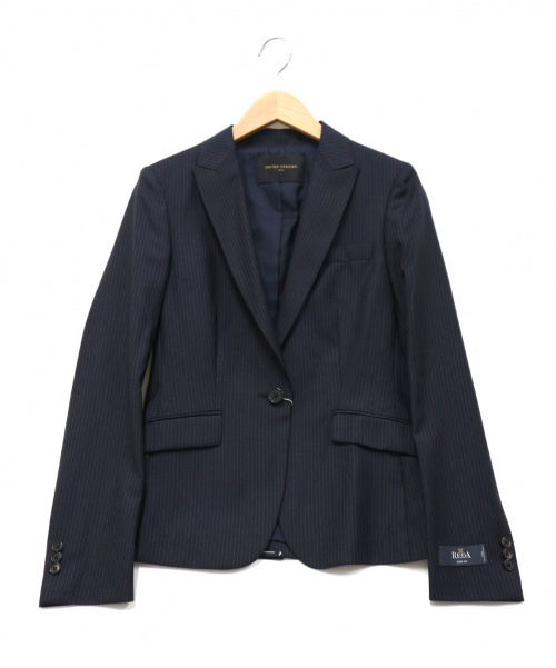 UNITED ARROWS TOKYO(ユナイテッドアローズトウキョウ)UNITED ARROWS TOKYO (ユナイティッドアローズトウキョウ) ピンストライプテーラードジャケット ネイビー サイズ:36 未使用品の古着・服飾アイテム