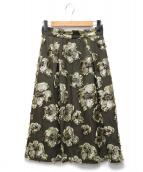 UNITED ARROWS TOKYO(ユナイティッドアローズトウキョウ)の古着「UBCSフラワージャガードスカート」|カーキ
